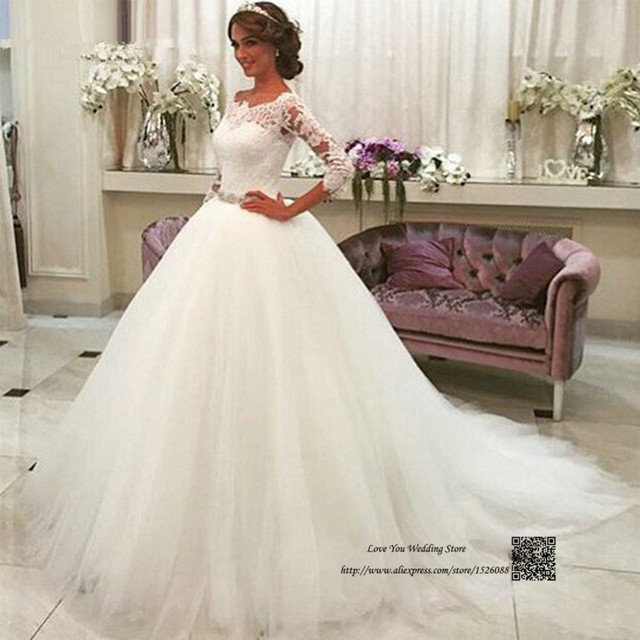 Latest Design White Ball Gown Wedding Dresses Lace Vestido de ...