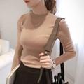Outono e inverno as mulheres gola da longo-luva camisola camisola térmica fino feminino camisa básica projeto curto pullover