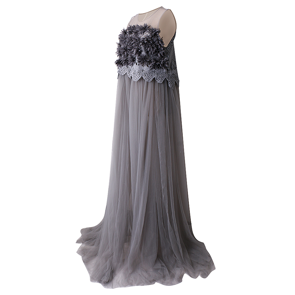 Ladies Maternity Maxi Dress Sleeveless Gray Lace appliques Dress Props Dress drawstring cocoon jersey maxi dress