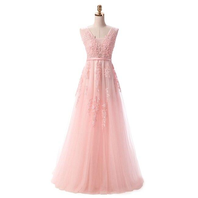 Robe De Soiree SSYFashion, кружевное, с бисером, сексуальное, с открытой спиной, длинное вечернее платье, для невесты, банкета, элегантное, длина до пола, для вечеринки, выпускного вечера - Цвет: Light Pink