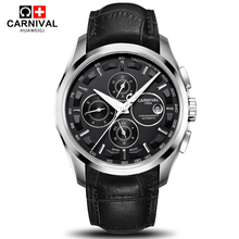 2016 New automatic mechanical military full steel watch relogio multifunctional fashion vintage leather strap men luxury watches