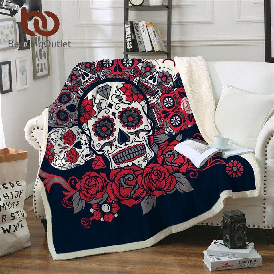 Crânio Do Açúcar BeddingOutlet Rosas Cobertor Sherpa Lance Sofá Cobertor de Microfibra Impresso Floral Vermelho Gótico Cama mantas de para cama