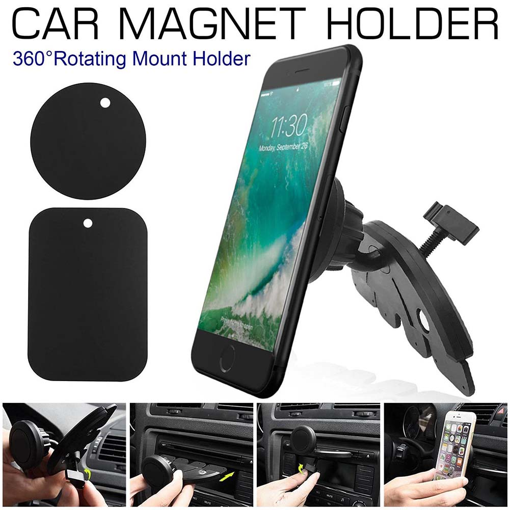 Rubsy Universal Car Phone Holder Wall Metal Magnet Cradle Car Dashboard Magnetic Plate Phone Mount Mobile Phone Stand
