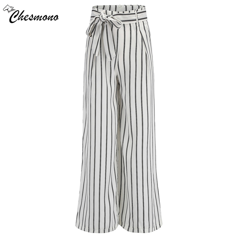 Loose Trousers Women Trousers Elegant Brand Womens Trousers white Vertical Striped High Waist Wide Leg Pants