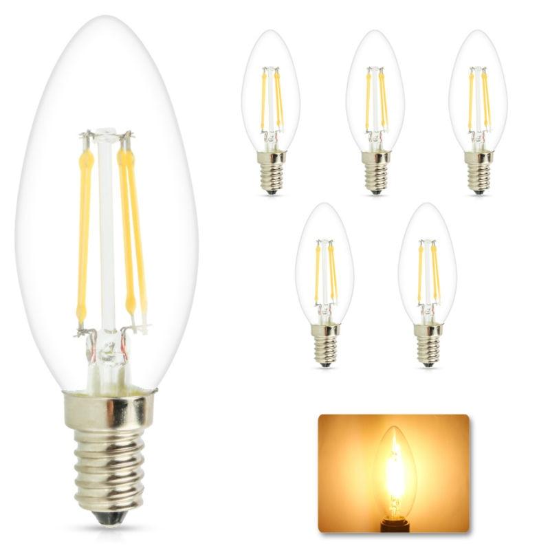 Dimmable E14 4W 6W LED Candle Light 220V Vintage Edison Energy Saving LED Filament Lamps Chandelier LED Lighting Bulbs
