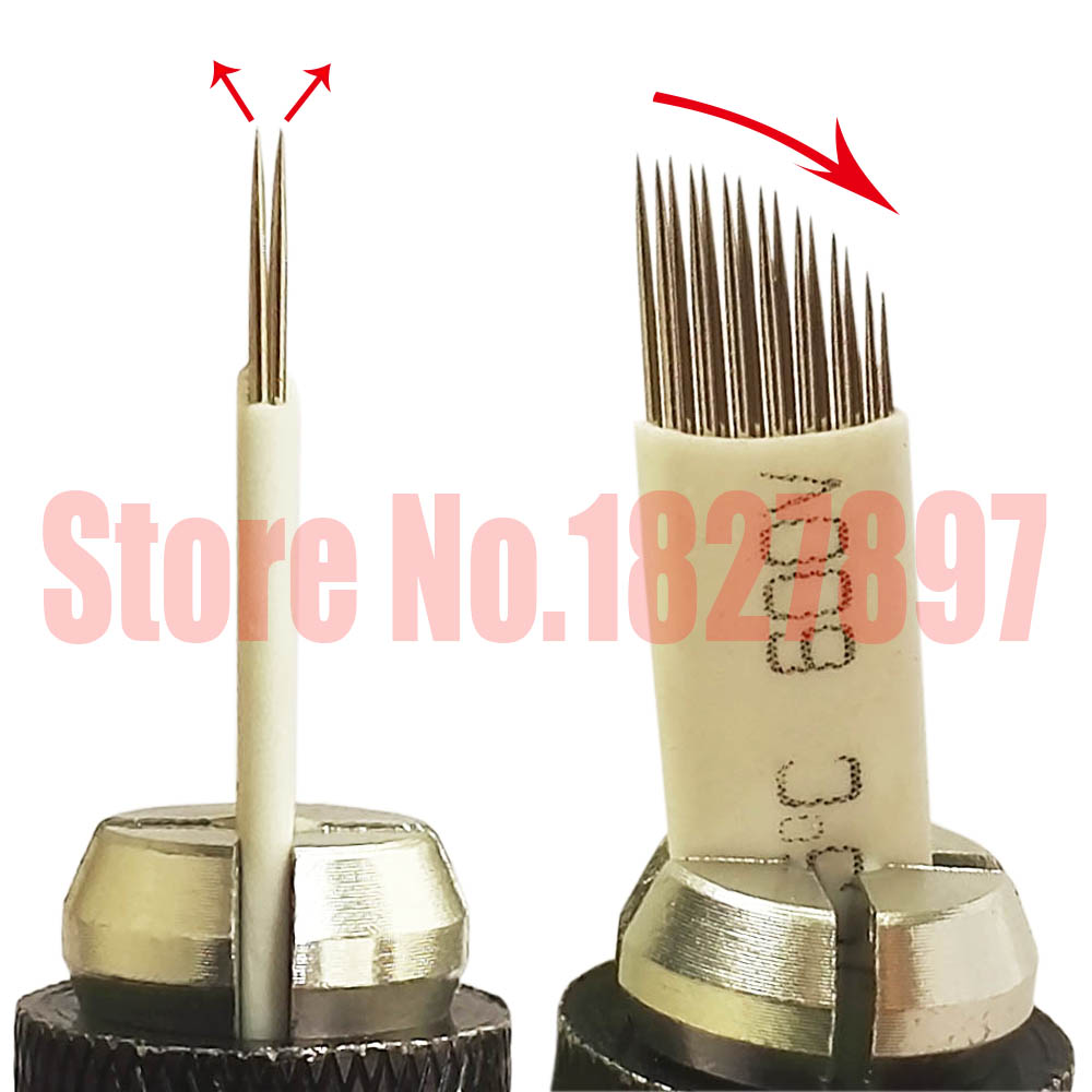 10pcs Microblading Permanent Makeup Eyebrow Tattoo 3D Embroidery 15 Double Row Needles Manual Pen Needles