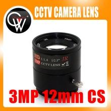"""3MP 12mm CS Lens 1/2.5"""" F1.4 CS Fixed IR 3 Megapixel CCTV Lens For IR 720P/1080P CCTV Security ip Camera"""