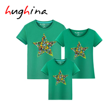 Hughina New Arrival Family Look Summer Animal Star Style Family t shirt Father and Son Clothes 2017 Family Matching Outfits 1637