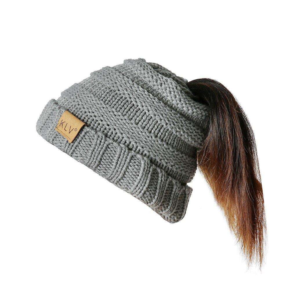 2019 New Style Children Ponytail Beanie Crochet Knitted Winter Hats For Kids Cap Skullies Beanies Female Warm Messy Bun Hats