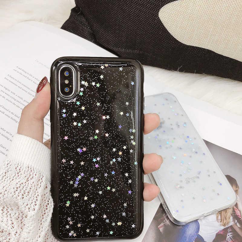بسيطة عادي الايبوكسي نجوم فلاش حقيبة هاتف محمول آيفون 6 6s 7 8 Plus 5 5s SE X XR XS ماكس لفتاة الإناث بريق الغطاء الخلفي