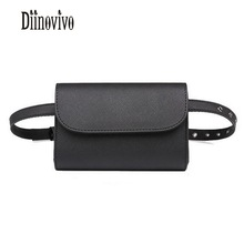 DIINOVIVO Small Vintage High Quality Waist Bags Black Famous Brand Belt Bag PU Leather Fanny Pack 2018 Fashion Phone Bag DNV0467