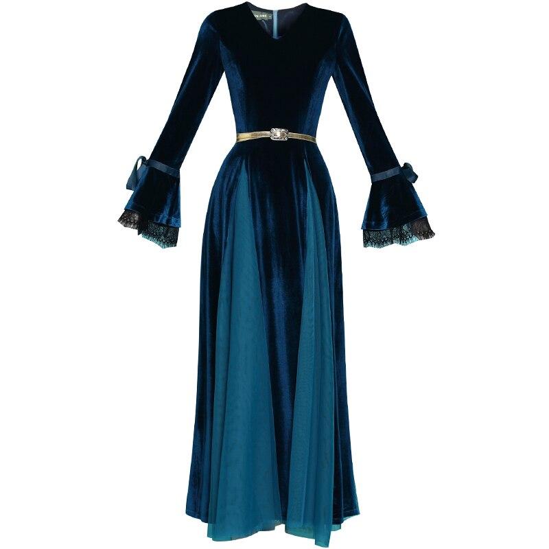 Nouveau cou Velours Maxi De D'or Robes Robe Gaze Kelly Sac Belt Femmes 2019 À Not Couture Femme With Belt V Dentelle Slim not Manches Longues En 3RjAL54
