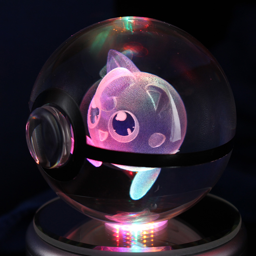 Adorable Cristal 3D Jigglypuff bola figura de acción Cristal Pokemon ir bola Led de luz de la noche