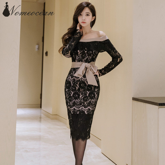 Office Lady Off The Shoulder Bodycon Dresses Ribbon Bow Belted Waist