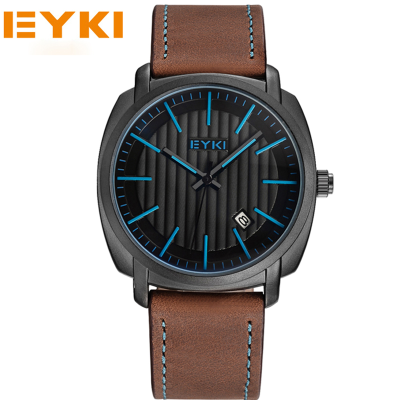 EYKI Men Sports Luxury Brand Genuine Leather Lady Watches Business And Casual Quartz Wristwatch Gold New 2017 eyki brand 2016 new watches men luxury brand fashion casual business watches sport gold analog quartz leather wristwatches1011