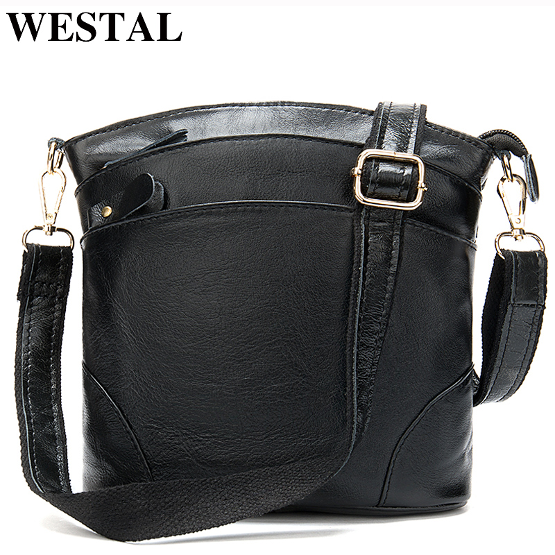 WESTAL Women Bags Purses Messenger-Bags Female Designer Genuine-Leather And 8363