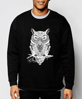 2016 New Autumn Winter Fashion Owl Animal Sweatshirt Hoodies Hip Hop Style Streetwear Slim Fit Brand