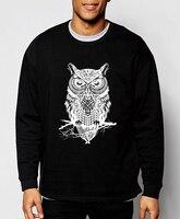 2016 New Autumn Winter Fashion Owl Animal Sweatshirt Hoodies Hip Hop Style Streetwear Slim Fit Brand