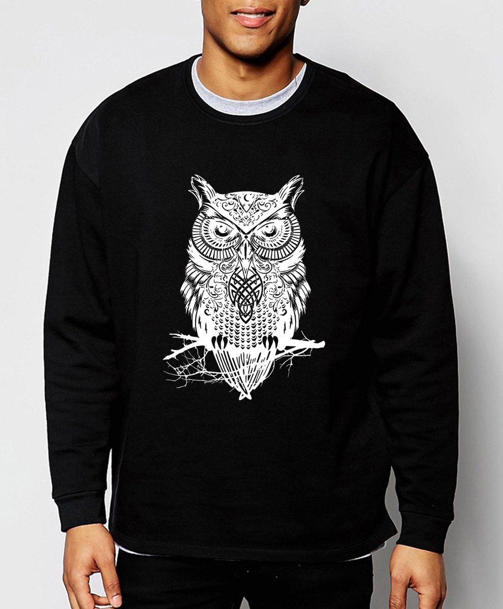 2018 neue frühling winter mode eule tier sweatshirt hoodies hip hop stil streetwear slim fit marke kleidung trainingsanzug männer