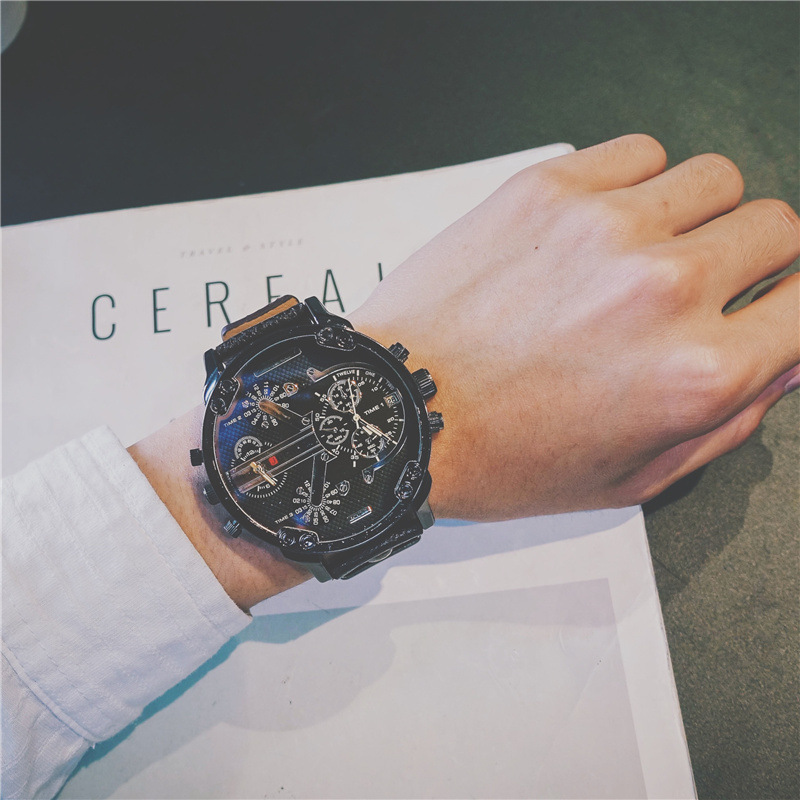 Creative Two Movements Big Dial Army Men Quartz Wristwatch Man's Classical Military Blue Ray Watches Male Sports Hours Watch image
