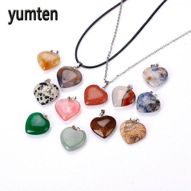 Yumten Love Charms Lot Pendants Natural Stone Vintage Necklace Topaz Peridot Aquamarine Kururin Joya Rubi Couple Valentine's Day