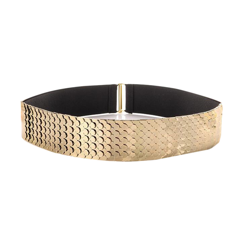 Gold Silver Wide Elastic Waistband Personality Punk Patchwork Metal Scales Belt For Women Fashion Dress Metal Belt