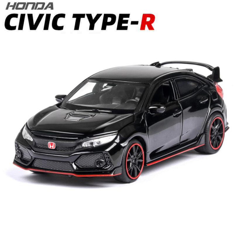 1:32 HONDA CIVIC TYPE-R Toy Car  Metal Toy Diecasts & Toy Vehicles Car Model Sound Light High Simulation Car Toys For Children