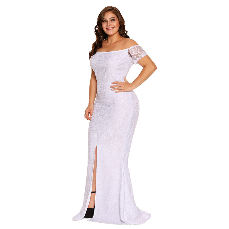 SEBOWEL Plus Size Schulterfrei Spitze Kleid Schlitz Party Kleider - Damenbekleidung - Foto 2