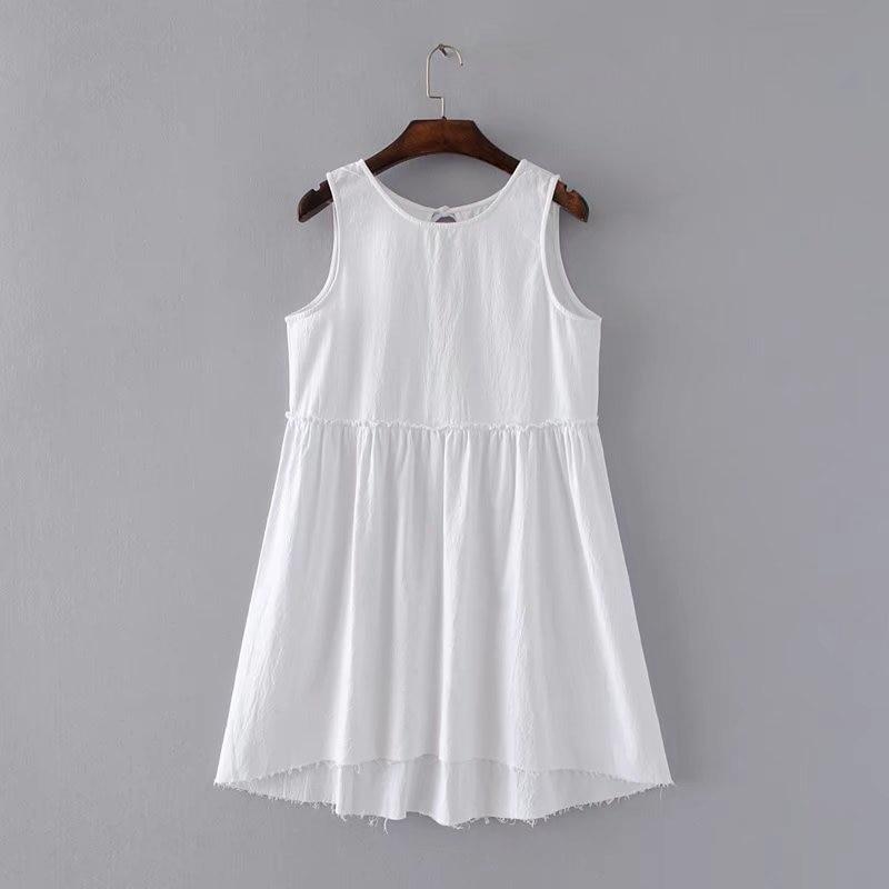 Download 2017 Summer Lady Sleeveless Frayed Edges Dress Backless Women Ruffles Asymmetric Hem Washed ...