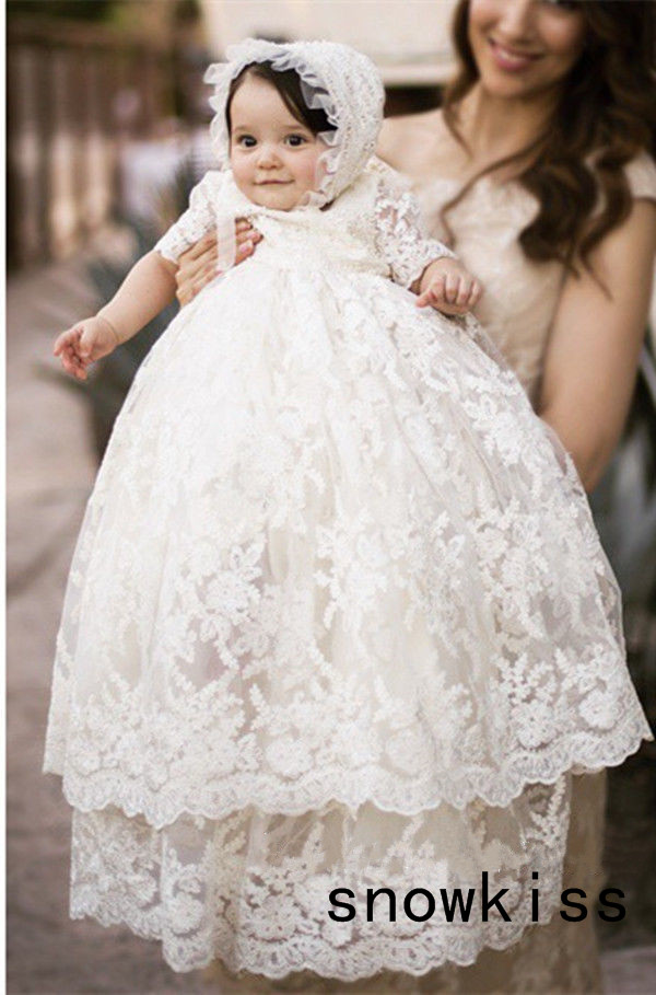 6bf51b003 Vintage baby girls Christening gowns baptism dresses for toddlers kids  outfit half sleeves with two tiered