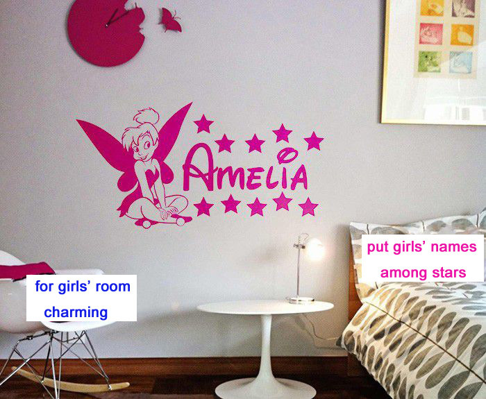 Customer Made Tinkerbell Fairy Personalised Names Bedroom Nursery Decor For Home Decoration You Choose Name And Color