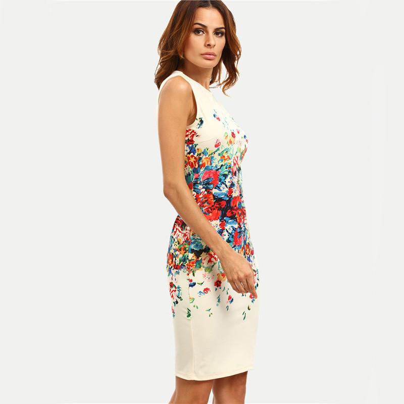 6c26092e8fad3 Sheinside Multicolor Print Sleeveless Sheath Mini Dress Women Office ...