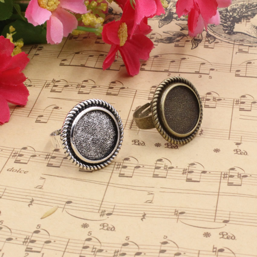 16mm Inner Size Ring Metal Zinc Alloy Round Blank Setting Bezel Blank Cabochon adjust Ring Base For DIY Ring 10pcs/lot K05107 mibrow 10pcs lot stainless steel 8 10 12 14 16 18 20mm blank french lever earring tray cabochon setting cameo base jewelry