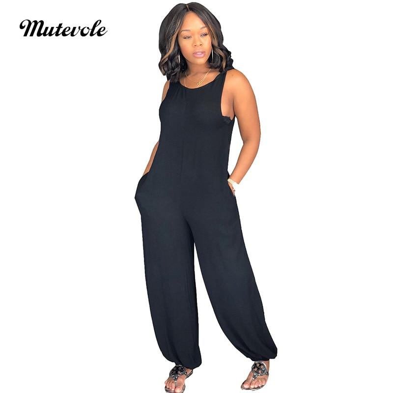 Mutevole PLUS SIZE Romper Womens Casual Solid Spaghetti Strap Jumpsuit with Pocket Loose Leg Lantern Pants Sleeveless Jumpsuit
