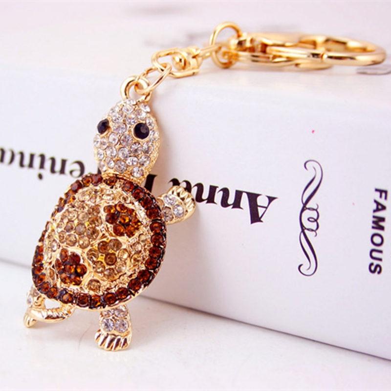 Cute Trinket Алтын түсті ринстон Tortoise Keychains - Сәндік зергерлік бұйымдар - фото 4