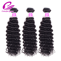 Colorful Queen Hair Raw Indian Hair Deep Curly Wave 3 Bundle Deals 100% Remy Human Hair Weave Bundles Natural Color 8-26 inch