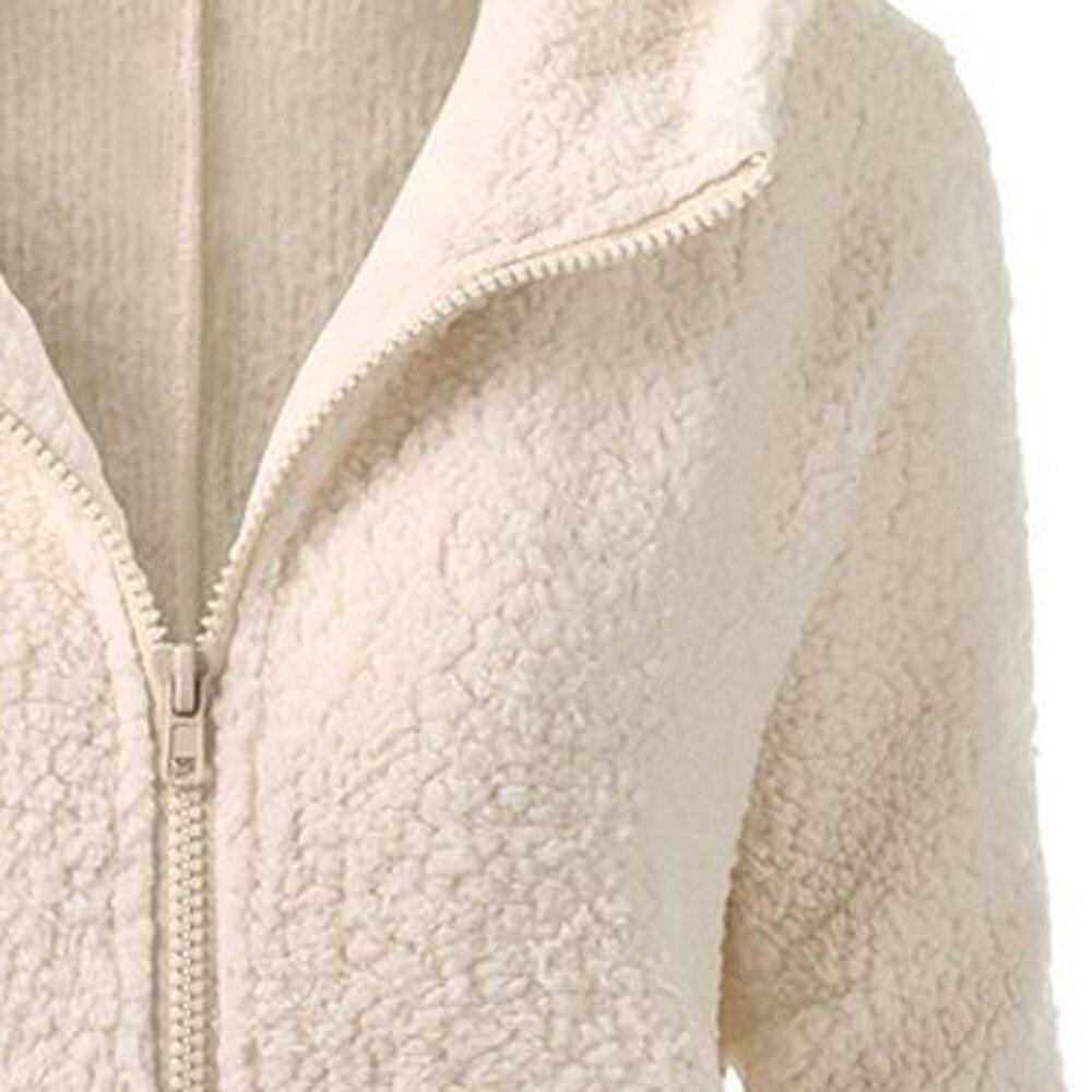 HTB1LZNBX2vsK1Rjy0Fiq6zwtXXaB Women Solid Color Coat Thicken Soft Fleece Winter Autumn Warm Jacket Hooded Zipper Overcoat Female Fashion Casual Outwear Coat