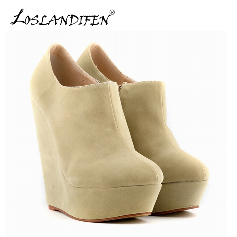 LOSLANDIFEN New Women's Winter Boots Flock Platform Wedges Round Toe Ankle Boots For Women Solid Short Booties Shoes 391-5VE flat with bow ankle boots shoes style women boots round toe platform snow boots for women fashion flock short outdoor shoes