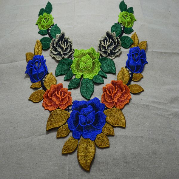 Somelace (1 szt) Craft Poliester Kwiat Haft Zdobione Koronki Dekolt Kołnierz Aplikacja Wykończenia Venise Patches / A001