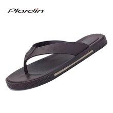Plardin 2019 British Style Men Shoes Cool Men Flip Comfortable Flops For Men Beach Slippers Soft