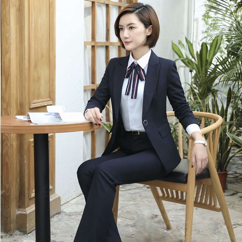 Suits & Sets Ladies Navy Blue Blazer Women Business Suits Formal Office Suits Work Wear Pant And Jacket Set Ol Styles