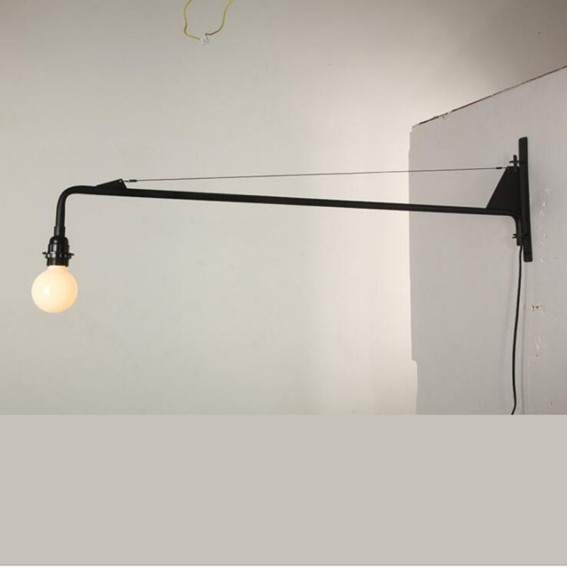 Image 2 - Loft Jean Prouve Dining Room Wall Lamp Retro Long Arm Lights Industrial  Bar/ Cafe / Designer Light With Led Bulbs-in LED Indoor Wall Lamps from Lights & Lighting
