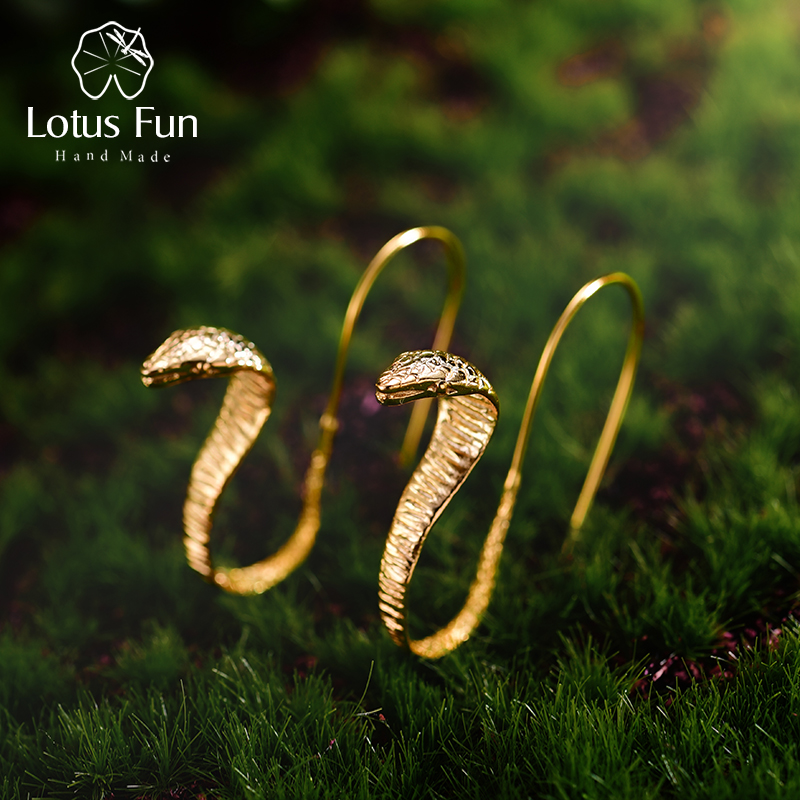 Lotus Fun Real 925 Sterling Silver Natural Creative Handmade Fine Jewelry Vintage Special Snakes Drop Earrings For Women Brincos