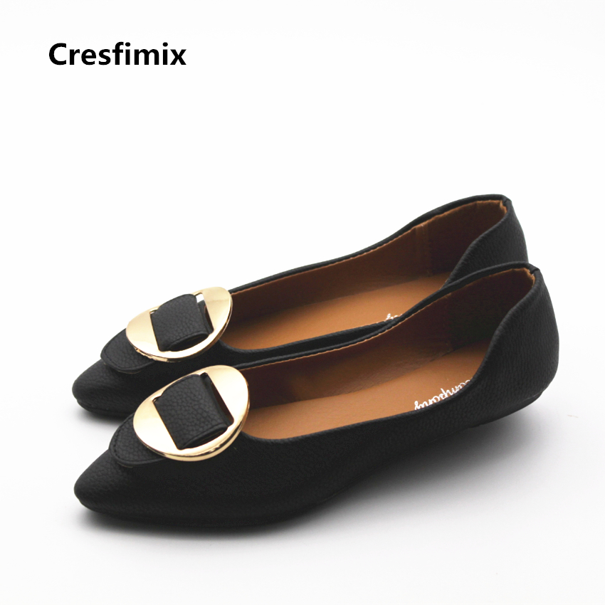 Cresfimix sapatos femininas women casual spring & summer slip on flat shoes lady fashion comfortable black shoes cute shoes cresfimix sapatos femininas women casual soft pu leather flat shoes with side zipper lady cute spring