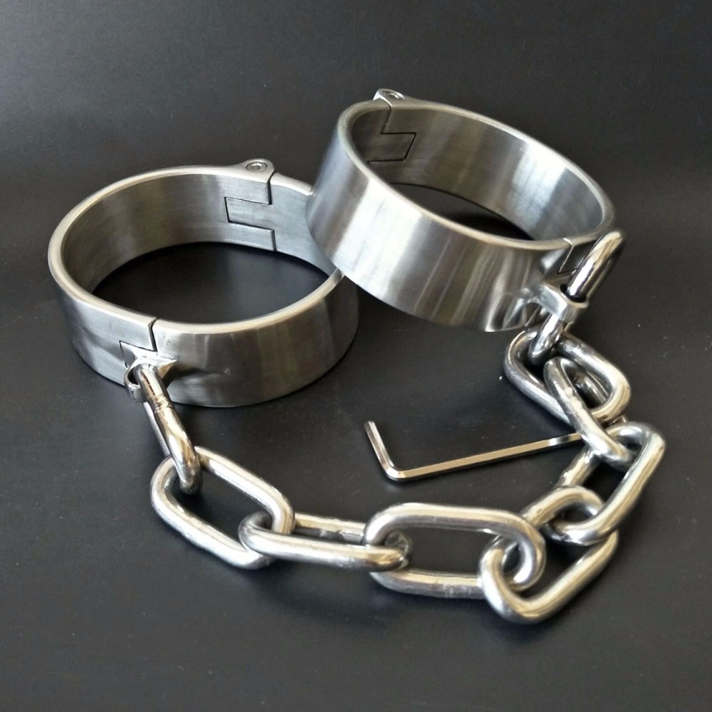 New Metal Bondage Stainless Steel Oval Ankle Cuffs Adult Toys For Men Women Sex Games BDSM Fetish Slave Restraints Leg irons