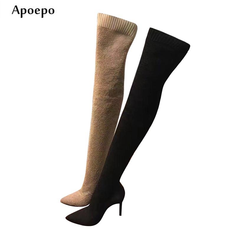 Apoepo Hot Selling Pointed Toe Boots for Woman Sexy Over the Knee High Heel Boots Knitted Stretch Sock Boots Thigh High Boots