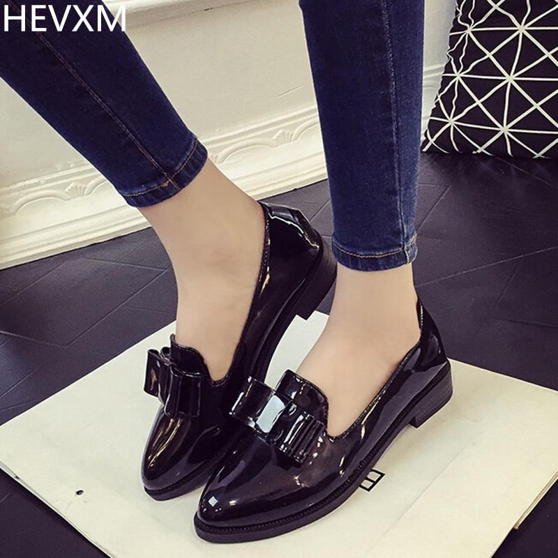 HEVXM 2017 Korean new autumn women fashion PU bowknot pointed mouth flat shoes women s casual