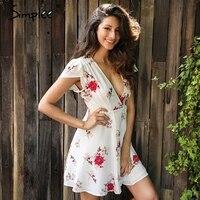 Simplee Elegant Floral Print Short Dress Women Boho V Neck Lace Up Sexy Dress Female Summer