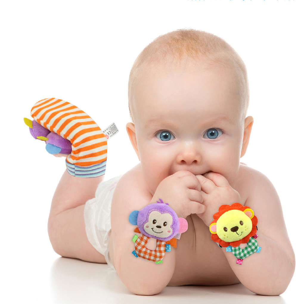 1Pcs Baby Bee Rattles Monkey Mobiles Kids Cartoon Baby Plush Wrist Strap Sheep Toys 0-12 Months Children Infant Newborn Animal