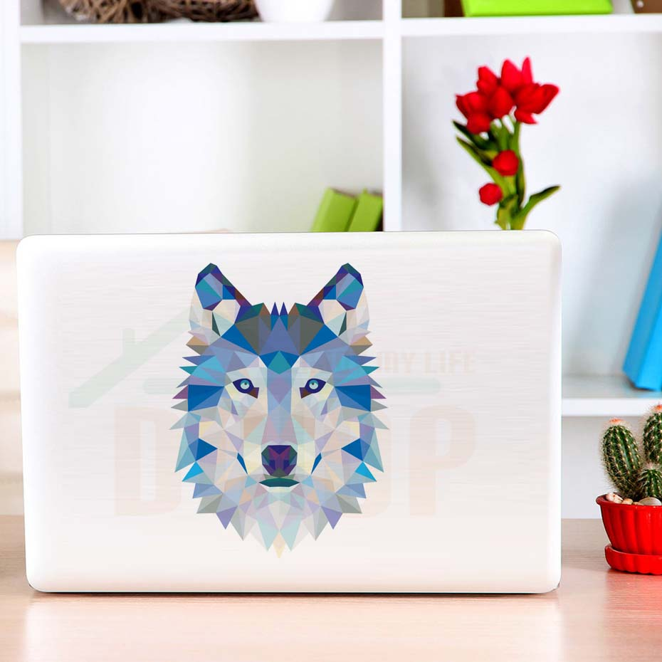 3D Wall Sticker For Refrigerator Colorful Geometry Wolf Head Vinyl Waterproof Funny Self-Adhesive Laptop Decals Mirror Stickers
